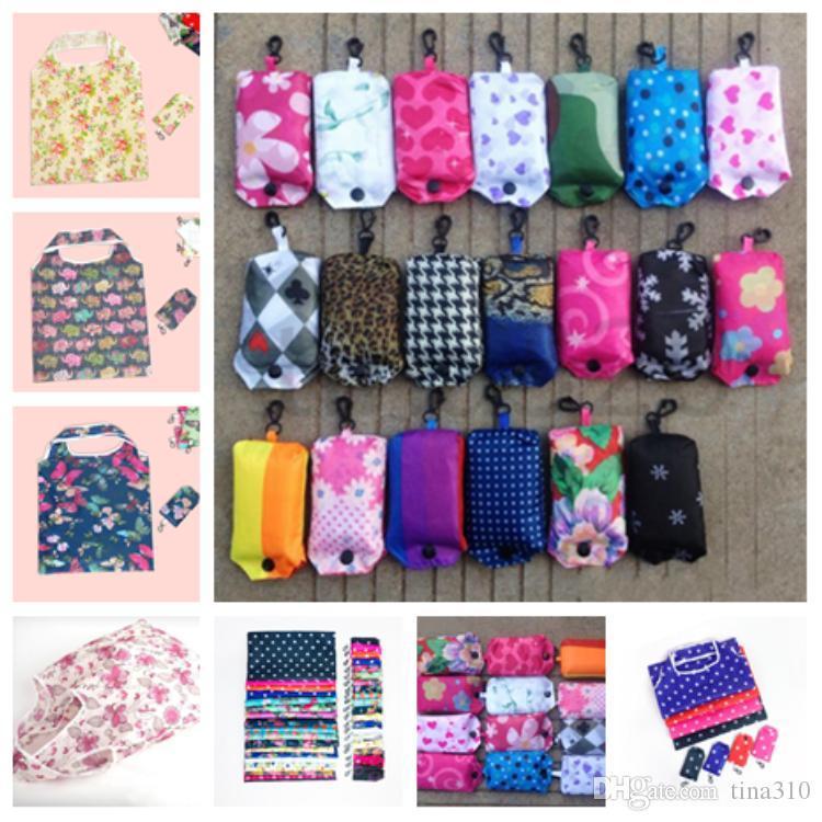 moda estilo coreano elegante e sacos dobráveis ecológicos poliéster impresso saco de armazenamento de compras criativo saco T2D5003