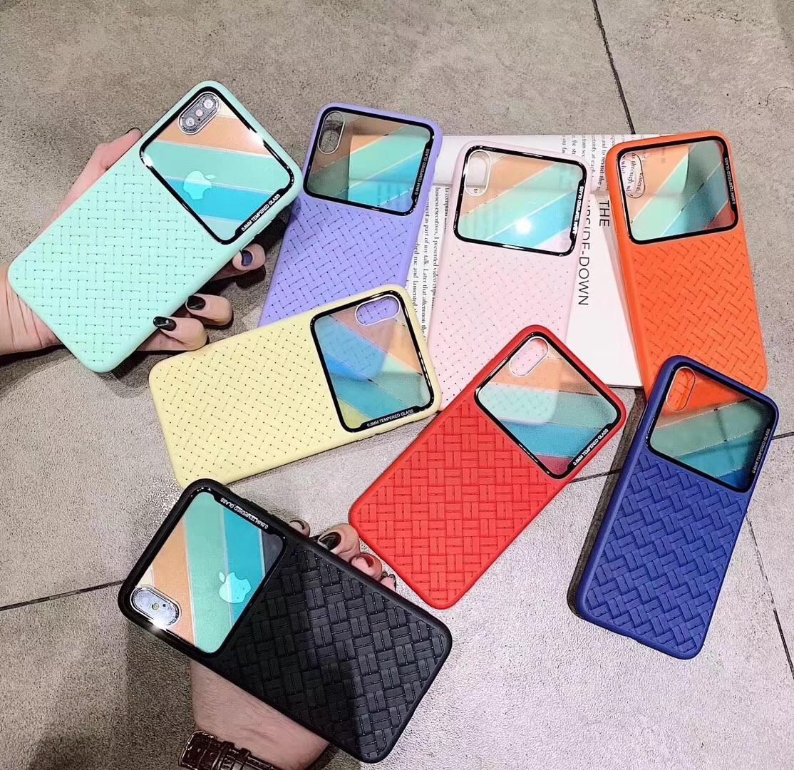 Gesponnener Spiegel-Gitter tpu Telefon Kasten für Samsung s8 für iPhone X 8 7 6S 6Plus weiche Fälle mit freiem Schiff