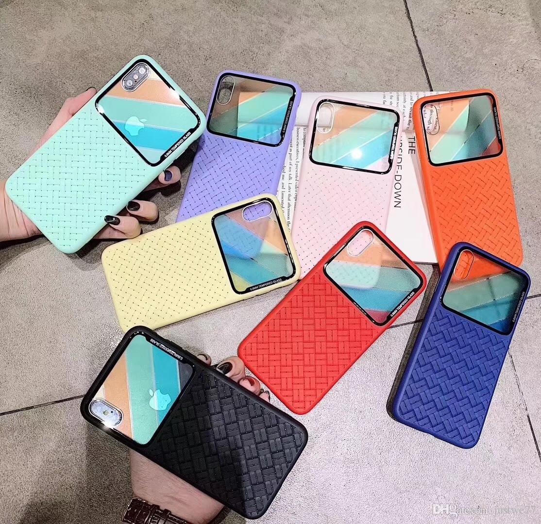 Caja del teléfono del tpu de la rejilla del espejo tejido para Samsung s8 para el iPhone X 8 7 6S 6 más casos suaves con la nave libre
