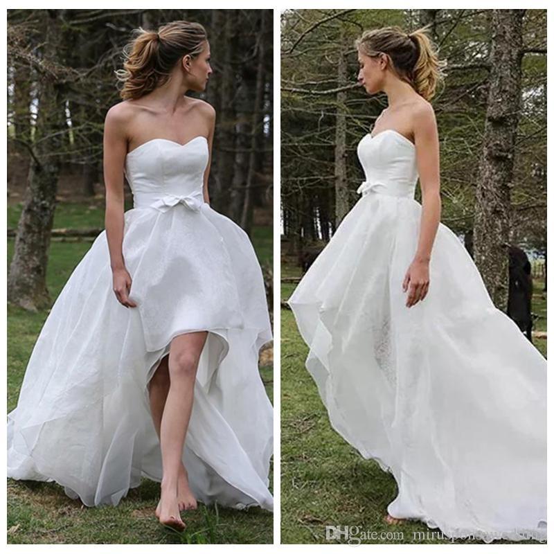 Эфирный атласная и органзы платье Милая Свадьба под 100 с луком Sweep Поезд Асимметричный Свадебное платье vestidos cortos де фиеста