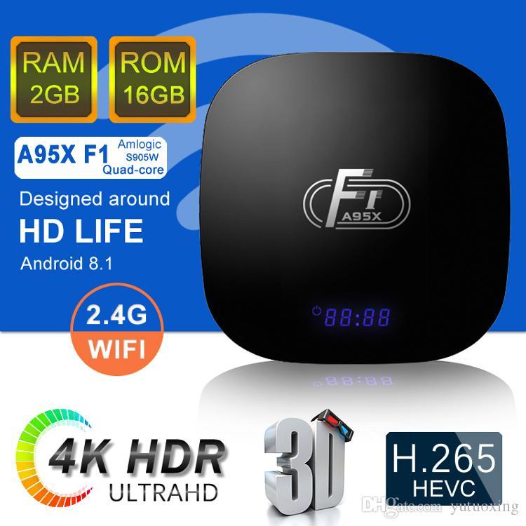 A95X F1 Android 8.1 TV Box Quad Core 2 Go 16 Go Amlogic S905W Smart Media meilleur joueur X96 Mini Pro MXQ