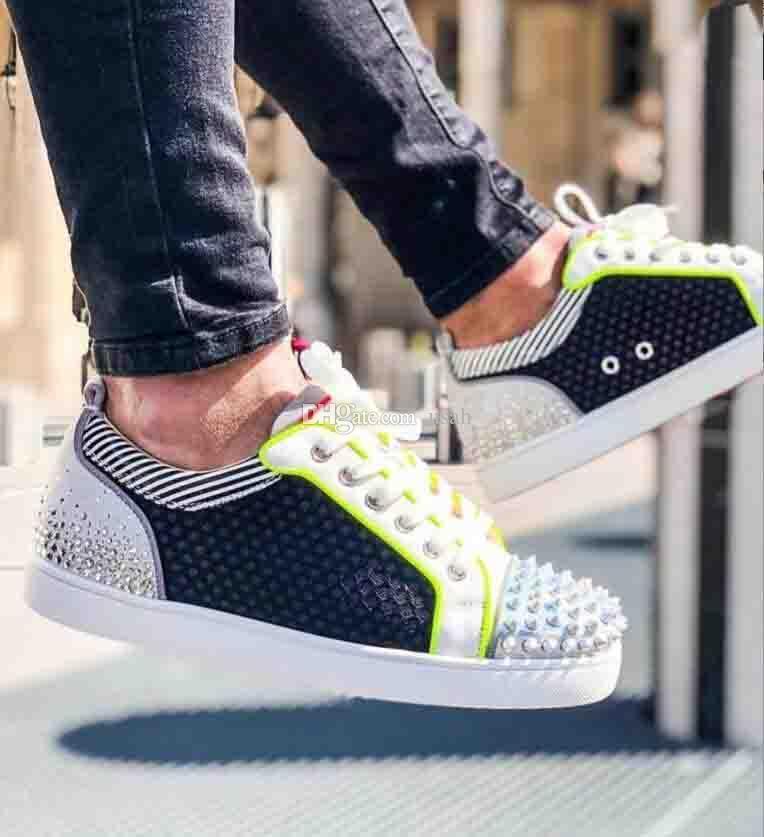 Nuevo diseñador de las mujeres, los hombres Ocio Pisos red de cuero, Spikes, Rhinestone inferiores rojos las zapatillas de deporte zapatos de los planos de alta calidad con la caja Ocio