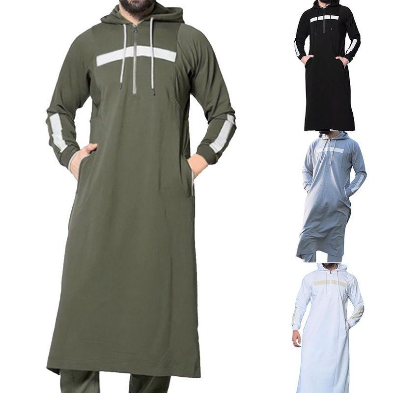 Muslim Robe Hoodies Vinaigrette Hommes Arabie arabe manches longues Thobe Jubba Thobe Kaftan Vêtements longue Homme islamique