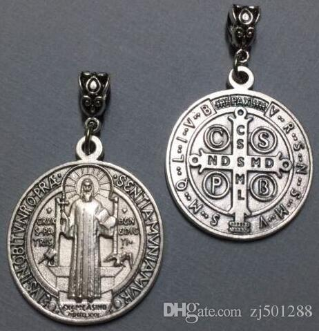 Vintage Silver Benedict Medal Cross Cristo Redentor Catholicism Pendant Charms Dangle For Bracelet Jewelry Making Gifts NEW