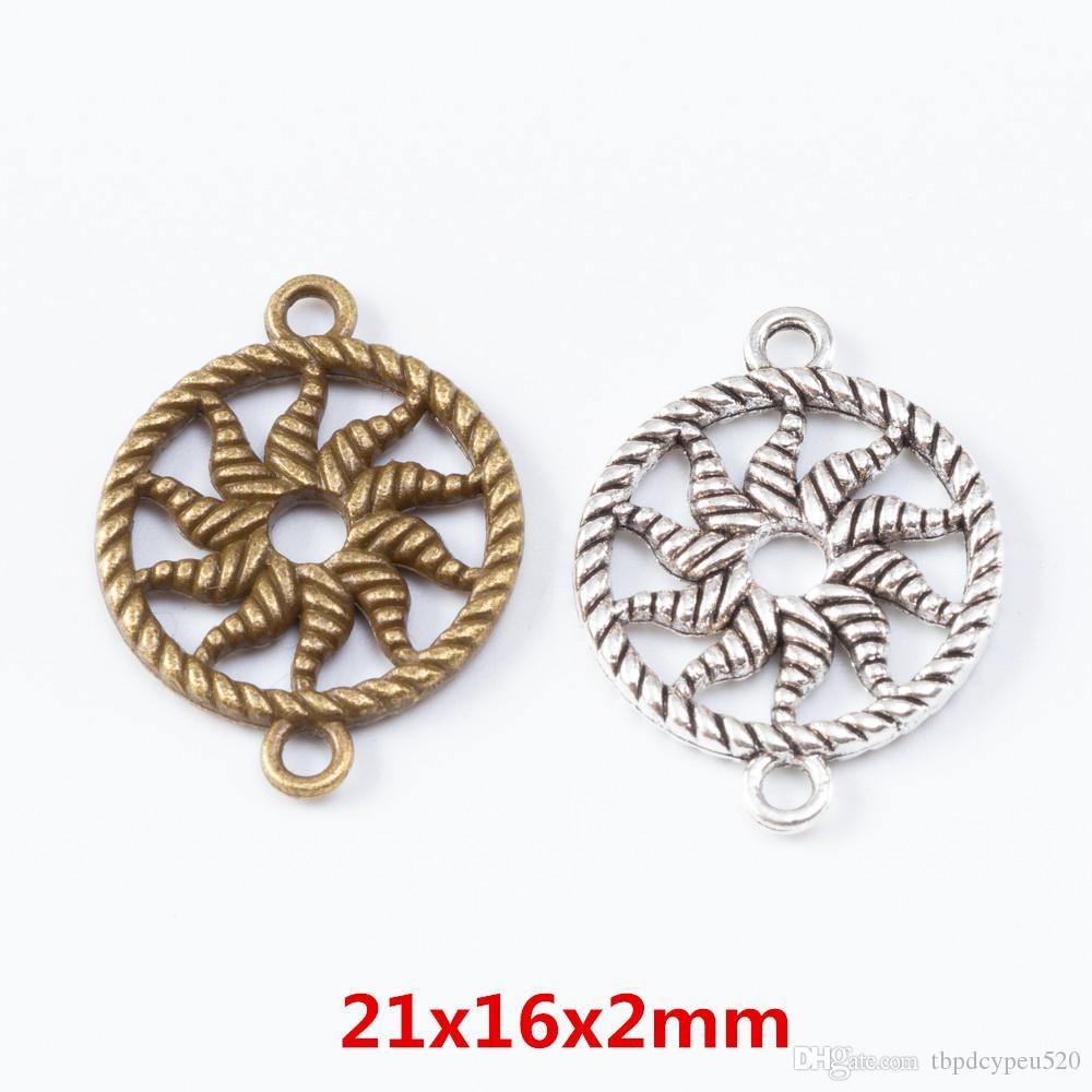 الجملة خمر سبيكة سحر الزنك معدن شنقا مزدوجة قلادة الشمس لنتائج مجوهرات ديي 7002