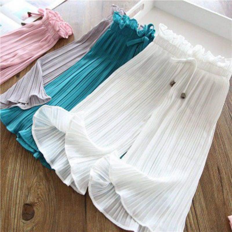 abbigliamento per bambini 2020 pantaloni estate del ghiaccio di seta pantaloni larghi a gamba larga piedino del bambino di colore solido pantaloni traspirante per bambini gonna ragazze caviglia
