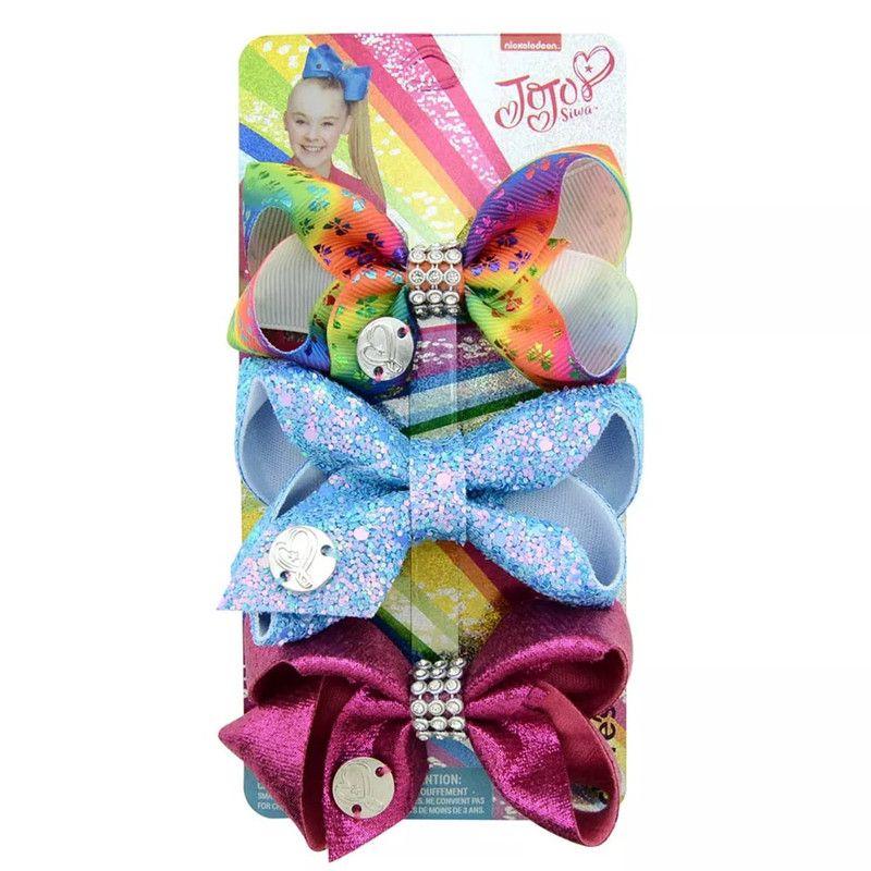 Free DHL 3Inches JOJO Bows 21 Styles Girls Barrettes Sequins Mermaid Unicorn Rainbow Polka Dot Girls Hair Clips JOJO SIWA Hair Accessories