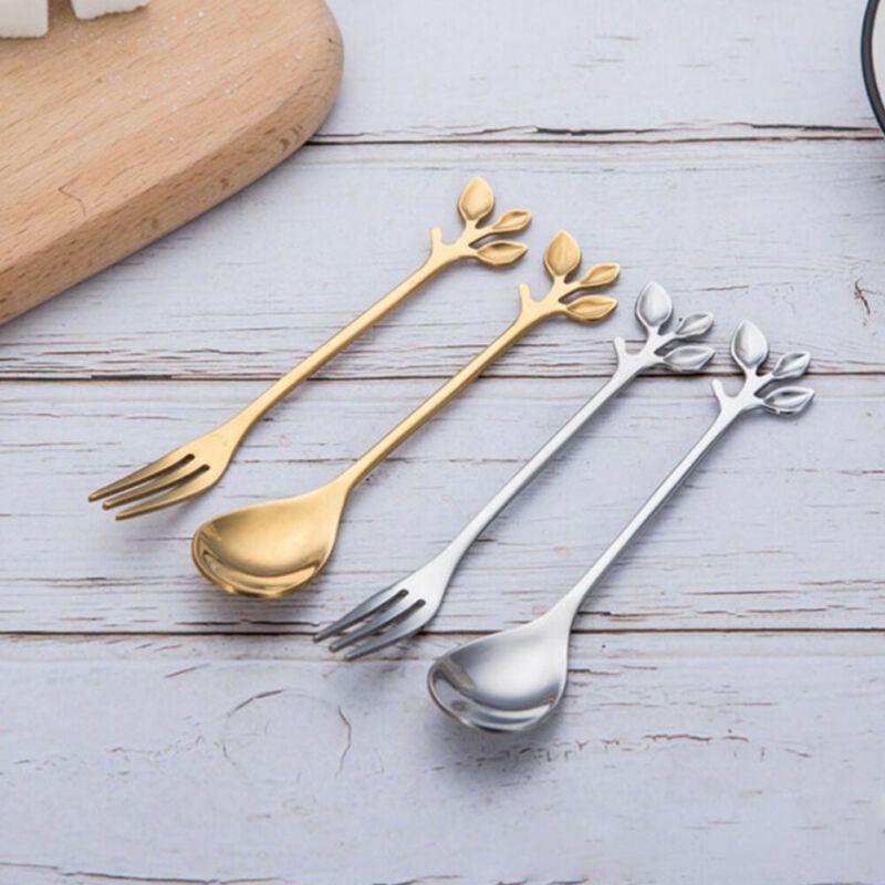 2020 Nouvelle cuisine ou salle à manger Bae Branch en acier inoxydable feuilles fourchette cuillère à café de thé Spork Dessert outil Flatware