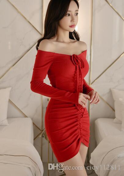 83a204a59 ... 2019 versión coreana de la primavera nuevo rojo manga larga moda  temperamento palabra hombro delgado sexy ...