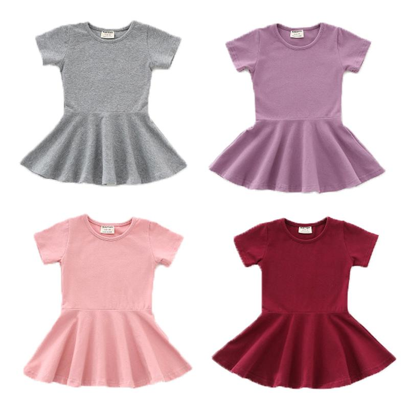 Baby Girls Candy Color Dresses 7 Colors Brief Short Sleeve Cotton Flounces Solid Swing Dress Kids Clothes Girls Outfits 9M-2T 04