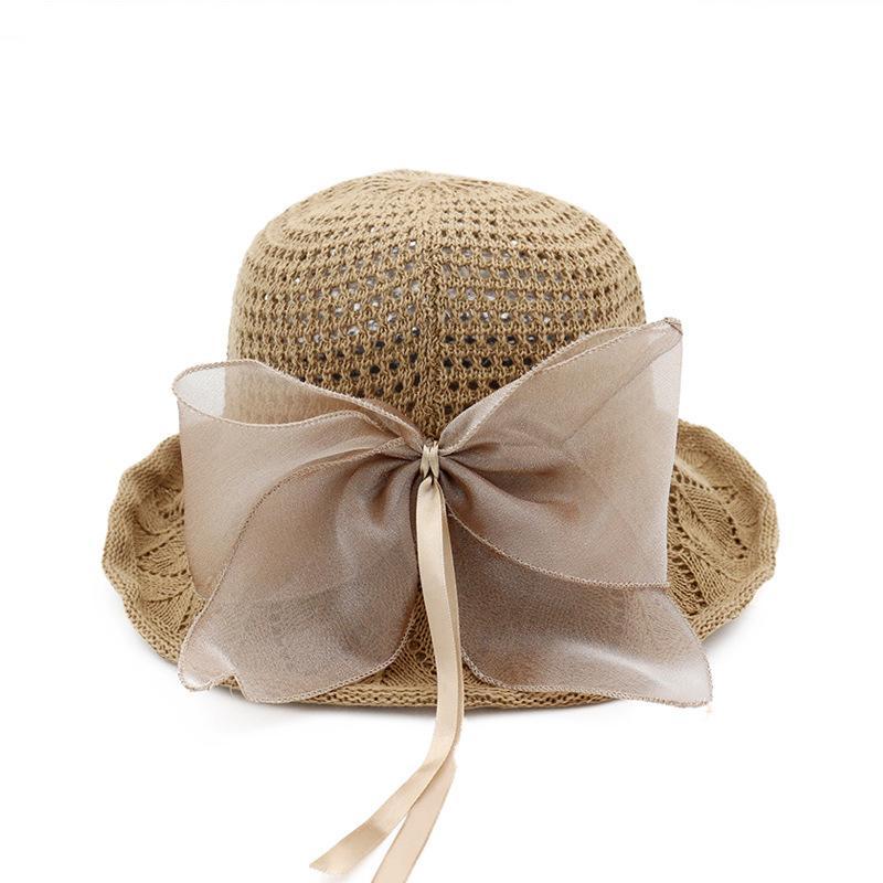 Nouvelle élégante Lady Bow-tied Coton et Lin Basin Hat chapeau de pêcheur Solide Couleur Pliable Voyage Sun Hat