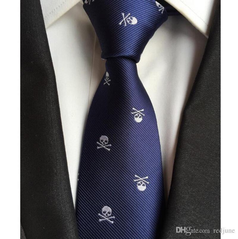 Оптовая продажа Горячих черепа шея галстук для мужчин 6 цветов Halloween Party Тонких привязывает 6CM бесплатной доставки