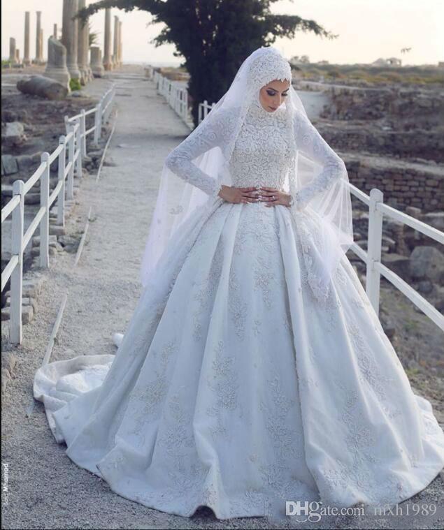 Custom 2019 última boda musulmanes vestidos de cuello alto encaje de manga larga más el tamaño de la boda del vestido de bola velo con el vestido por robe de mariée