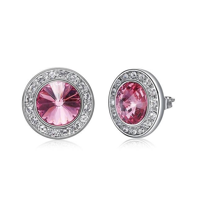 Adornado con cristal de Swarovski Round Crystal 10 colores Stud Pendientes para mujeres Lover Piercing Jewelry Gift
