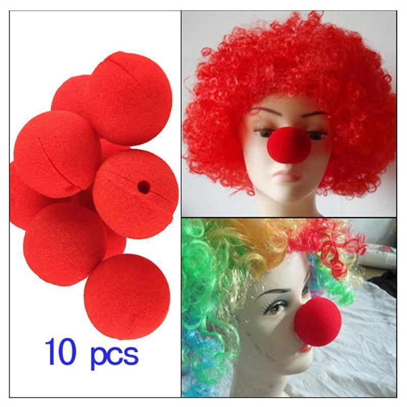 10Pcs/Lot Red Ball Sponge Clown Nose Adorable Foam Circus Clown Magic Halloween Costume Party Decoration Set Dress Accessories