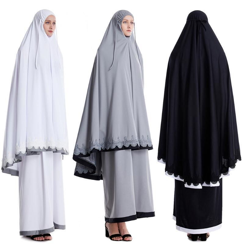 Abaya Kaftan Dubai Hijab vestido dos muçulmanos africanos Arábia Saudita Vestidos turcos para as Mulheres Set Caftan Hoofddoek Niqab roupa islâmica