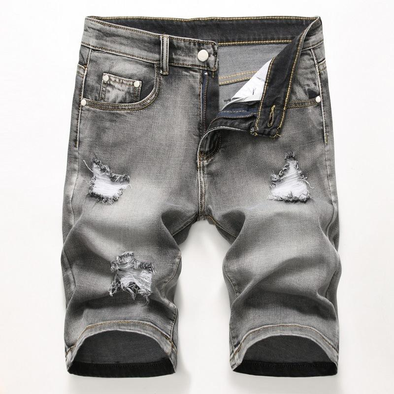 Uomo Denim Shorts Torn 2020 Hot Summer Pantaloni Hole Distressed Bermuda Maschio Stretch ginocchio lunghezza brevi jeans vintage Shorts Y200623