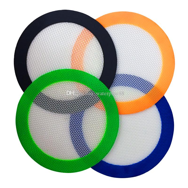 10 pcs/lot silicone baking mat quality FDA reusable non stick concentrate wax slick oil heat resistant dab silicone material 12.7cm round