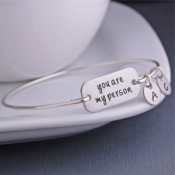 You Are My Person Bracelet, Grey\'S Anatomy Quote, You\'Re My Person Jewelry,  Best Friend Bangle Bracelet Anniversary Gift YP3746 Gold Bangles For Sale  ...