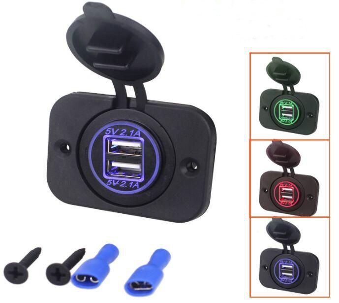 Due LED Light Rings 4.2A Dual Socket Mobile Phone Power Adapter Caricabatterie da auto USB per moto Bus Marine