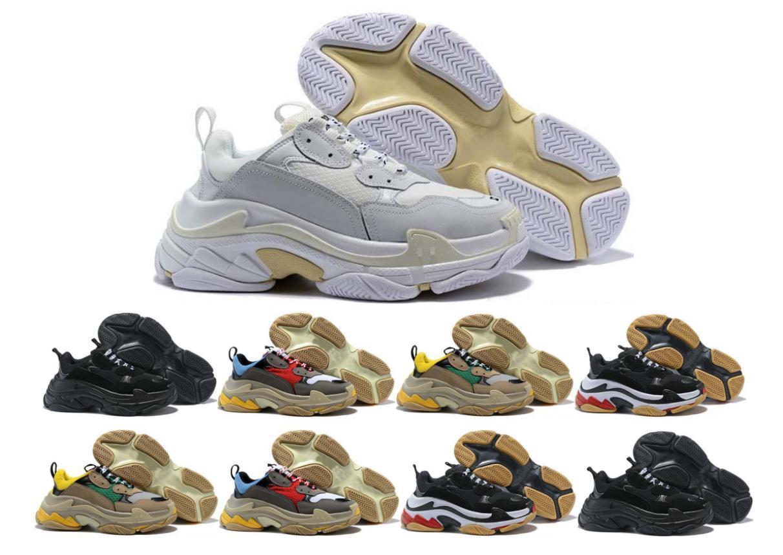 Los diseñadores de zapatos ocasionales de los deportes 17FW Triple S Diseñador Baja Old Dad la zapatilla de deporte de combinación soles para mujer para hombre del corredor zapatos de calidad superior 36-45