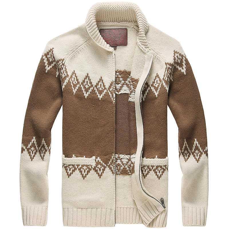 Muls Luxury Wool Coat Men Cardigans Diamond Argyle Winter Thicken Heavy Knit Cardigan Sweater Jacket Men 80% Wool 20% Acrylic