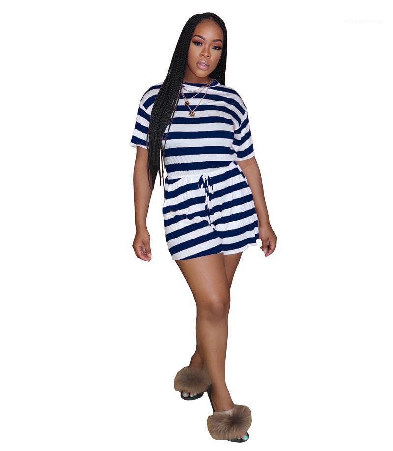 Burst Shorts Short Sleeves Colorful Hort Sleeve Slim Sport Suit Designer Female Clothing Striped Jumpsuit Multicolor