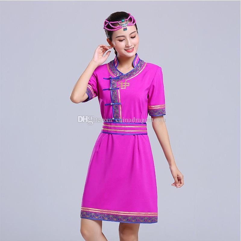 Vêtements de danse ethnique Vêtements de danseuse mongole été Costumes Prairie adultes femmes vêtements de scène