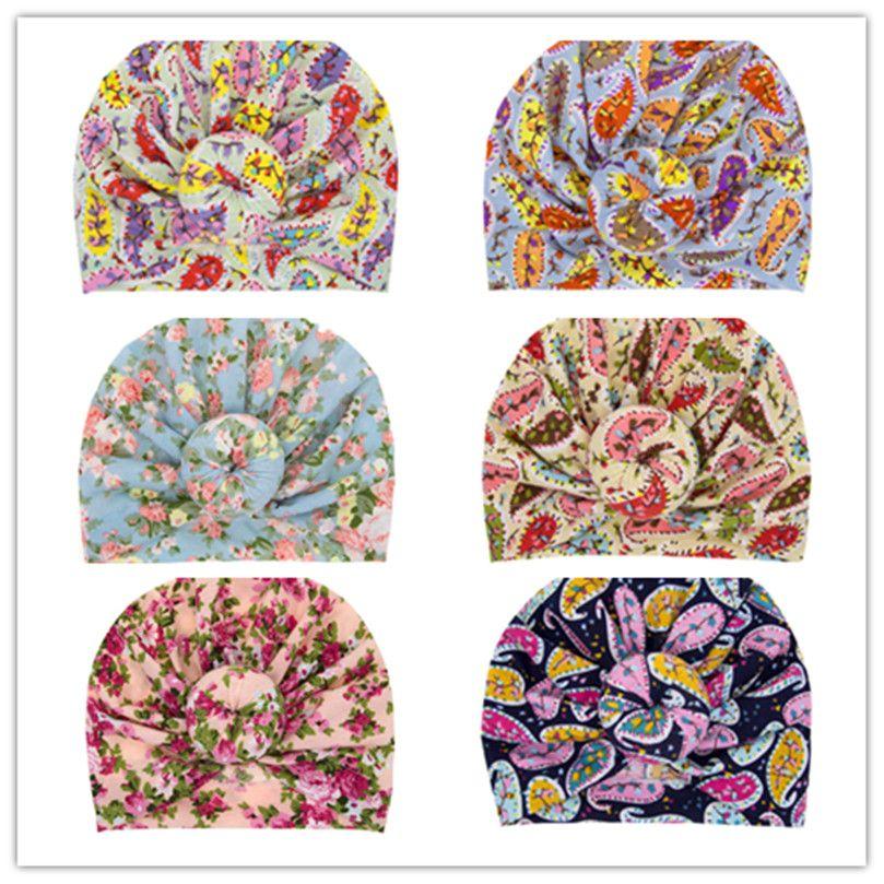 INS 유아 어린이 비니 보헤미안 터번 매듭 헤드 랩 유아 아기 소녀 모자 볼 매듭 꽃 모자 차일 도너츠 Florals 모자 D3508