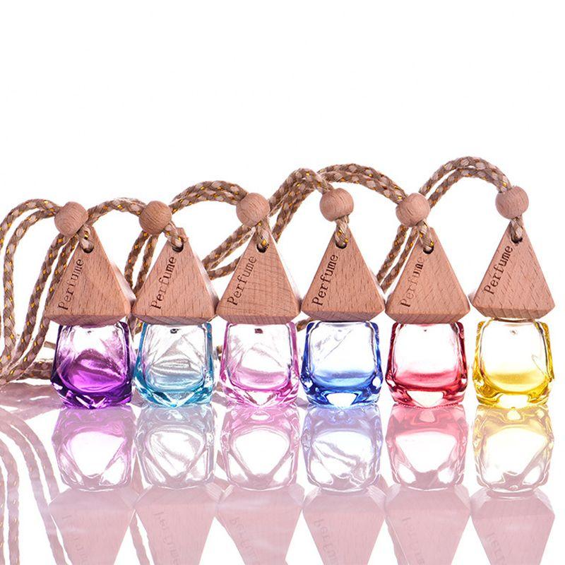 Bouteille De Parfum En Verre De Bouteilles De Voiture Accrochant Parfum Rearview Ornament Accrocher Corde Pendentif Vide Emballage Bouteilles 6 ML