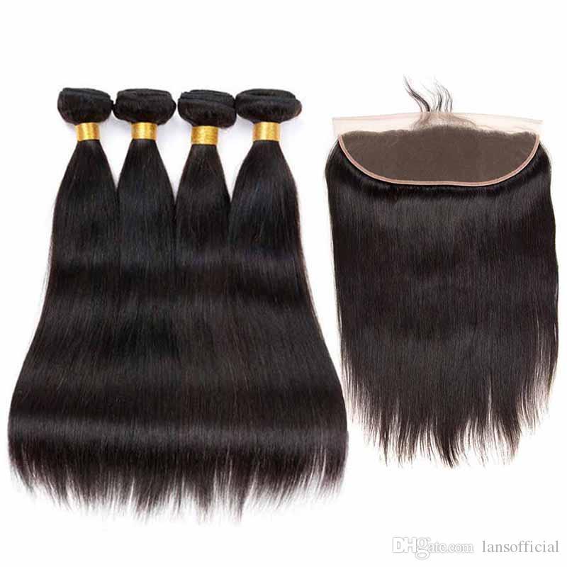 Cheveux Remy brésiliens 4 Bundles Avec Extraits de Cheveux Humains Remy Frontale Naturel Noir Noir Pas Cher Avec Fermeture Frontale