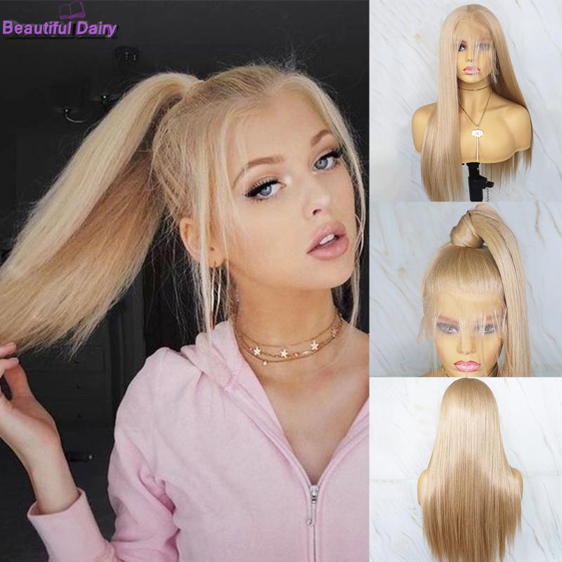 Bela Synthetic Diário Futura cabelo perucas completas do laço loira reta perucas Pré arrancado da linha fina Glueless peruca cheia do laço