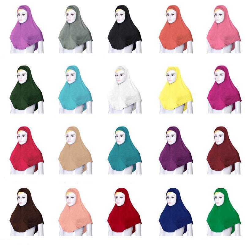 2 STÜCKE Frauen muslimischen Gebet Hut unter Schal Hijab Niquabs islamischen Kopftuch Turban Weiche Ninja Einfarbig Nahen Osten Hut 76*68 CM