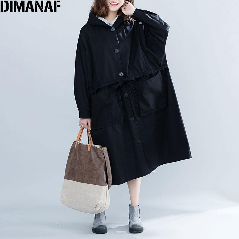 DIMANAF 2019 Kadınlar Ceketler Coats Artı boyutu Sonbahar Düğme İnce Büyük Boy Hırka Bayan Giyim Gevşek Büyük Boy Siyah OuterwearMX190929