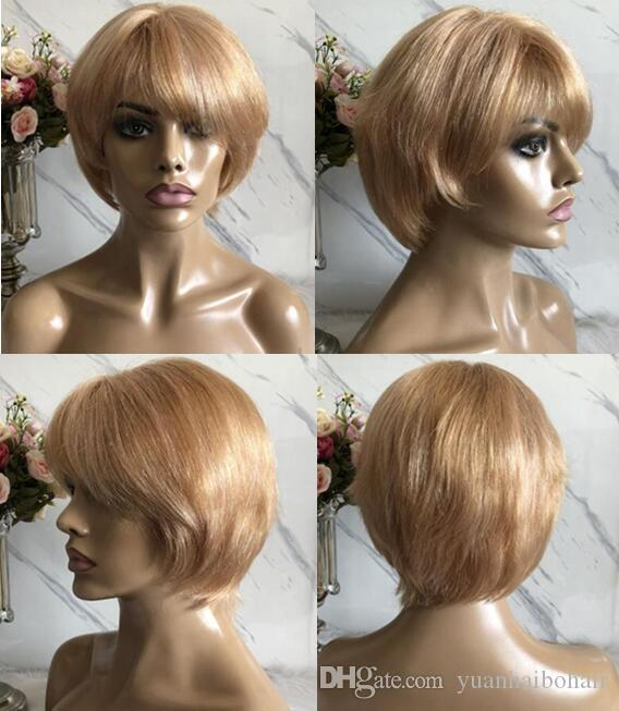 Celebrity Wig Lace Front Wigs Short Cut PiXie Style Blond Hair Chinese Virgin Human Hair Full Lace Wig for Black Woman Free Shipping