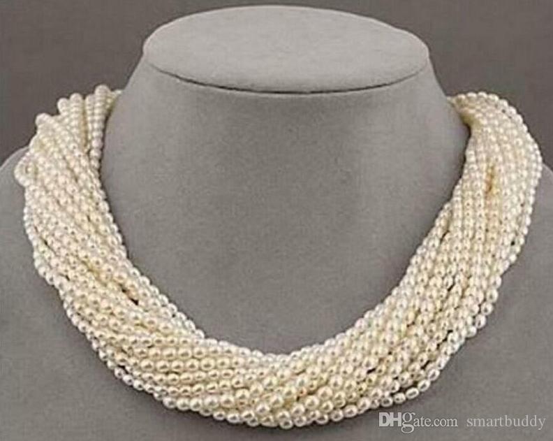 """Nuevas bellas perlas del mar del sur joyería barroca White Pearl 100Strand Estados collar 18"""""""