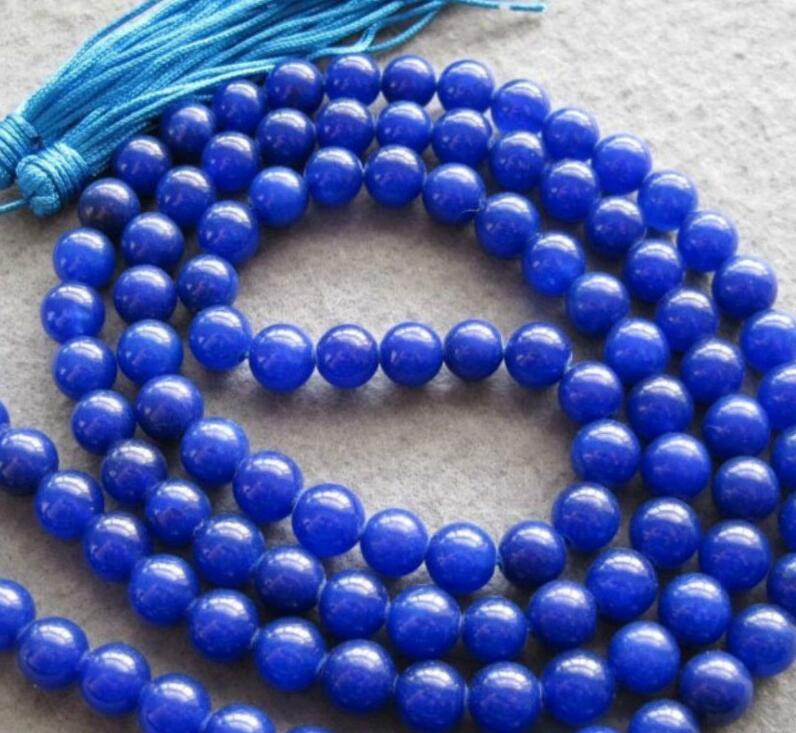 necklace Wholesale FREE HH##> Rare 108 blue jade 8mm Beads Buddhist Prayer Mala Necklace
