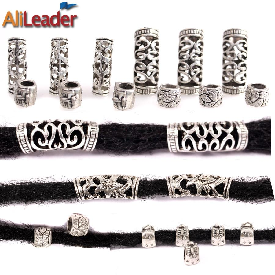 Alileader 10Pcs / Lot Silvery Dreadlock Beads Different 4 Style 7Mm e 5Mm Hole Braid Cuffs Clip Beads Unadjustable Hair Rings