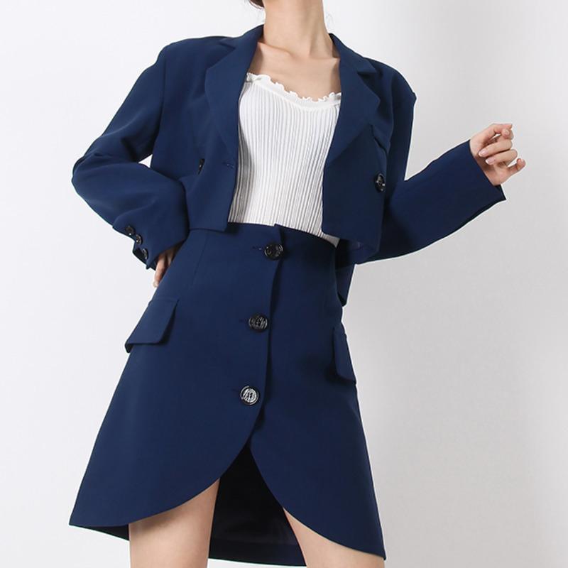 Lamm Kuzu Güz 2019 Yeni Moda Yanlışlıkla Mizaç Kadın Gevşek Renk Kısa Katı Küçük Takım Elbise Ceket Etek T547 SH190808