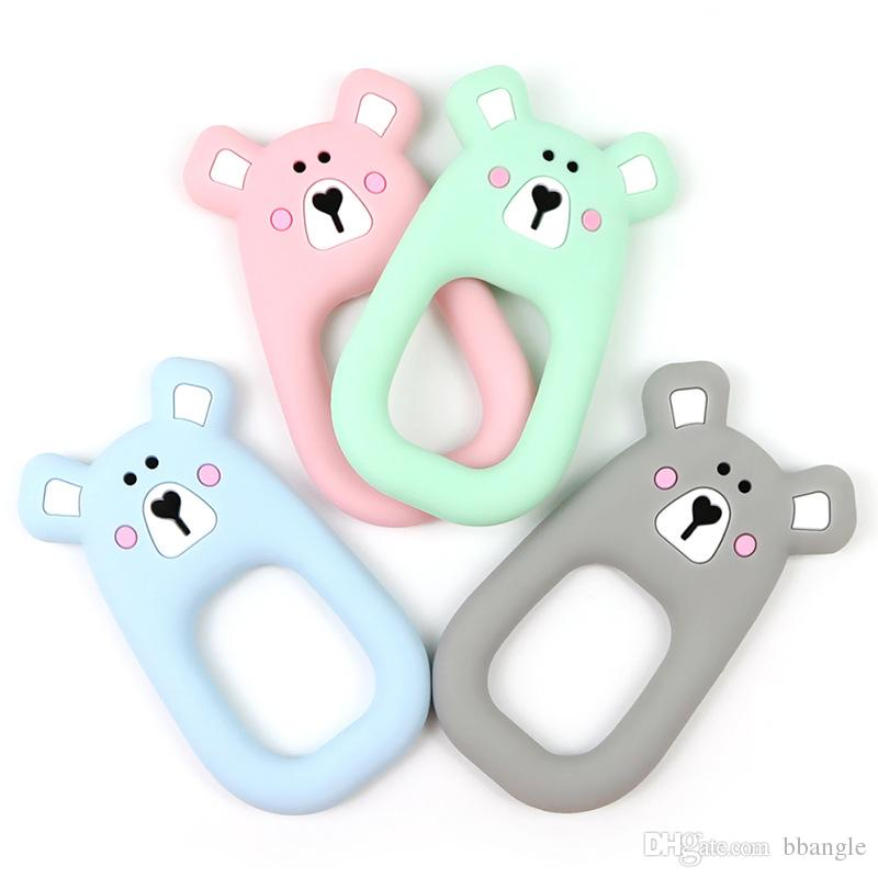 Ours En Silicone Dentition Jouets De Dentition De Qualité Alimentaire Silicone Perles Chew Anneau Charmes Infantile Bébé DIY Pendentif Cadeau Sensory Toy
