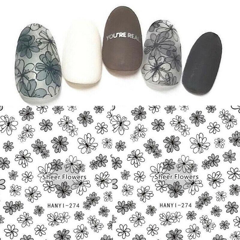 Visillos Flores del trazador de líneas de uñas de arte de la etiqueta engomada DIY 3D Decoración Consejos polaco del gel # 765