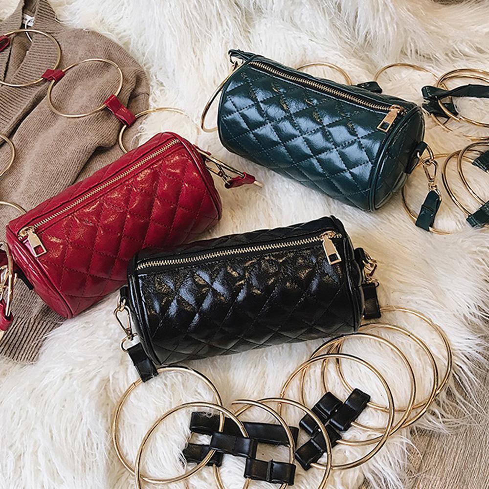 Women Shoulder Crossbody Bags Barrel-Shaped Small Purse Bucket Bag Fashion Cell Phone Zipper Bags
