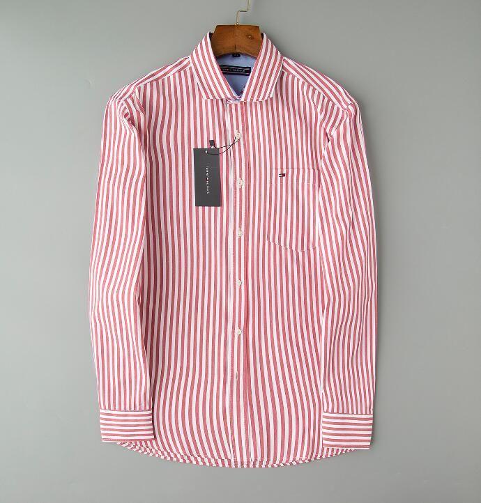 summer Men's Business Casual shirt men long sleeve striped slim fit masculina social male T-shirts new fashion Printing man checked shirt