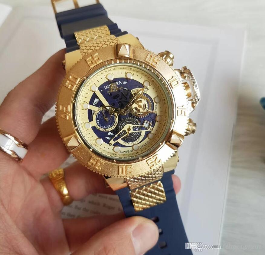 IN의 주식 판매는 크로노 그래프 고무 스틸 시계 디자이너 시계 시계 금 남자 프로 다이버 SS 스피드 웨이 럭셔리 망 장미