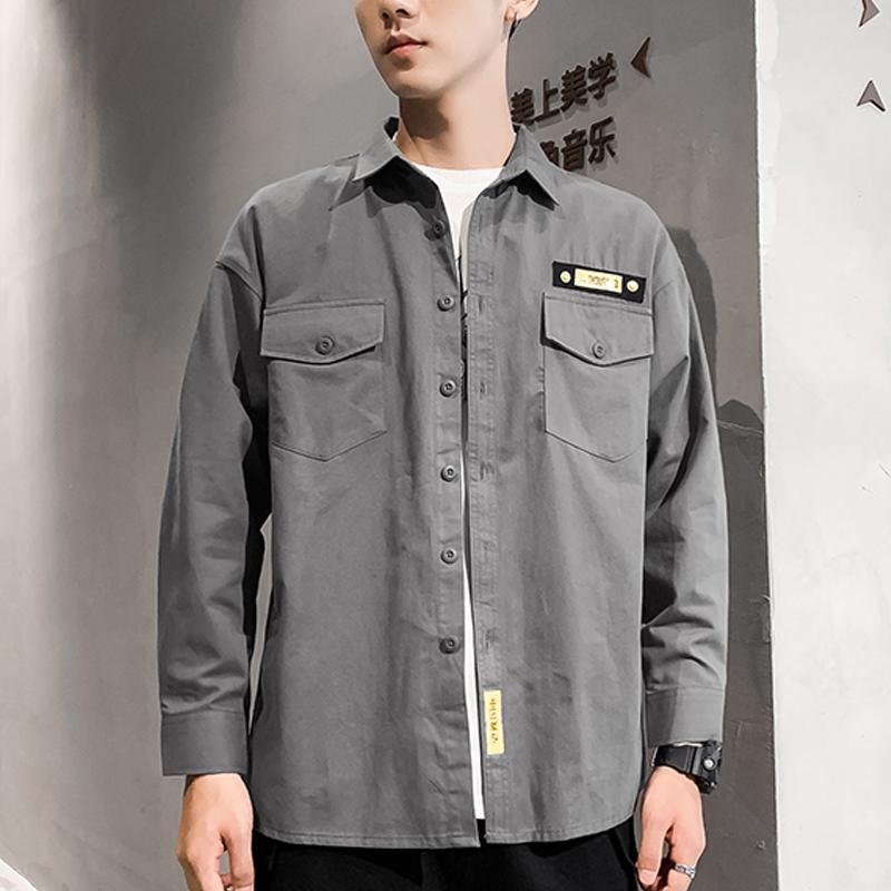 Мужские повседневные рубашки Брин Волк 2021 Весенние Мужчины Двойные Грудные Карманы Свободная Хейки Рубашка Khaki 100% Хлопок Плюс Размер Одежда