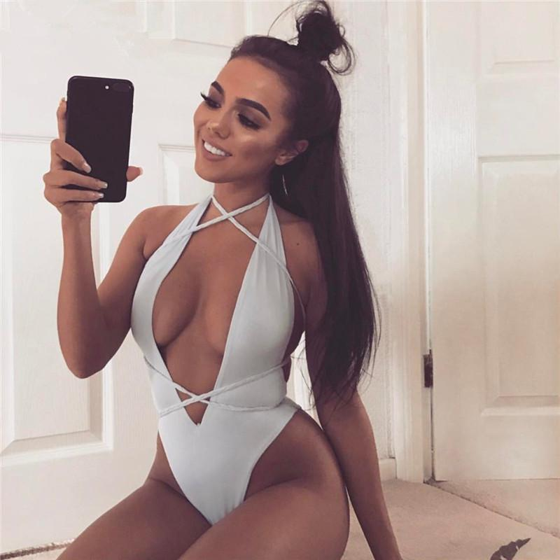 New Sexy Cross Bandage Deep V Neck Women Body Suits Sleeveless High Waist Slim Summer Swimsuit Beach Wear Swimwear Fine
