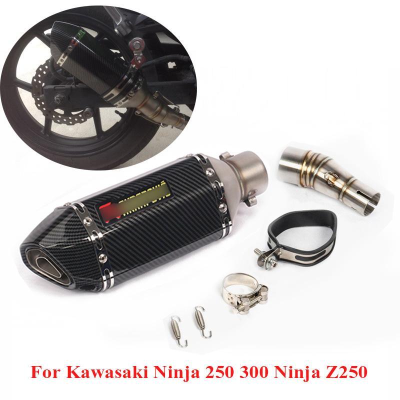 Slip on Motorcycle Exhaust Tip Escape Muffler Link Connecting Tube Pipe for Ninja 300 Ninja 250 Z250 2013-2016