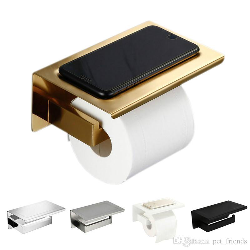 Porte-papier hygiénique SUS304 or brossé avec étagère Accessoires de matériel de salle de bain Porte-mouchoirs noir / chrome / blanc