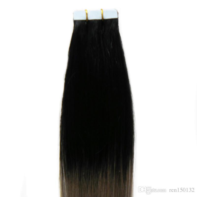 """12 """"-24"""" fita Em Extensões Do Cabelo Humano cinza ombre cabelo humano 40 pcs fita em extensões do cabelo humano PU Trama Da Pele Sem Costura"""