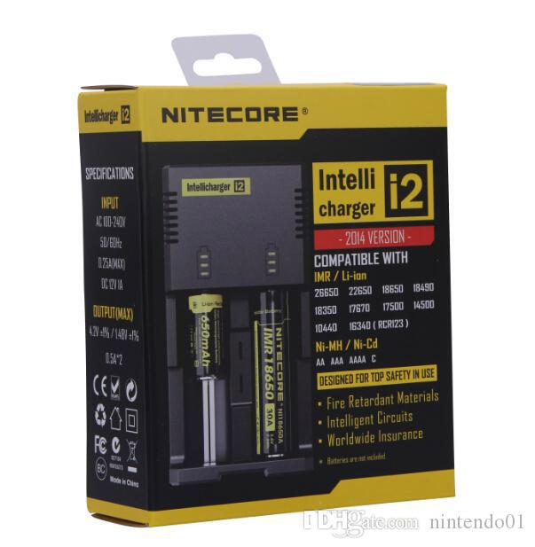 Nitecore I2 충전기 16340/18650/14500/26650 용 배터리 E 담배 2 in 1 Multi Function Universal Intellicharger